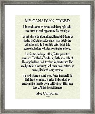 My Canadian Creed On Parchment Framed Print