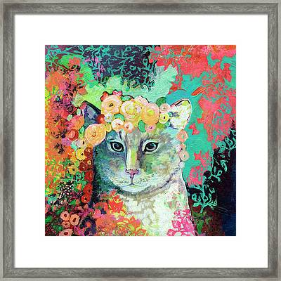 My Cat Naps In A Bed Of Roses Framed Print