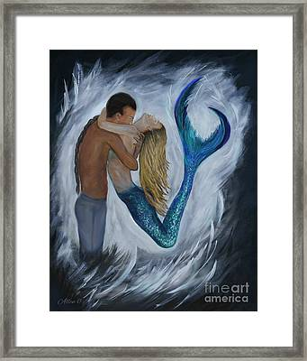 Framed Print featuring the painting My Dream Mermaid by Leslie Allen