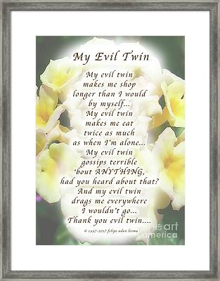 My Evil Twin Greeting Card And Poster Framed Print by Felipe Adan Lerma