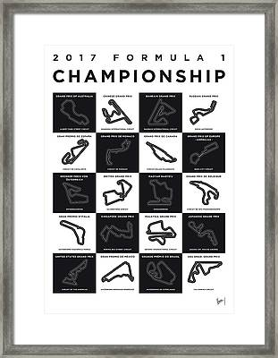 My F1 Season 2017 Race Track Minimal Poster Framed Print