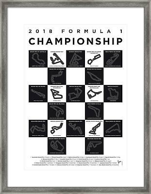 My F1 Season 2018 Race Track Minimal Poster Framed Print