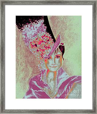 My Fair Audrey -- In Raspberry And Orange Framed Print
