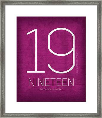 My Favorite Number Is Number 19 Series 019 Nineteen Graphic Art Framed Print by Design Turnpike