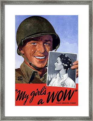 My Girl's A Wow -- Ww2 Poster Framed Print by War Is Hell Store