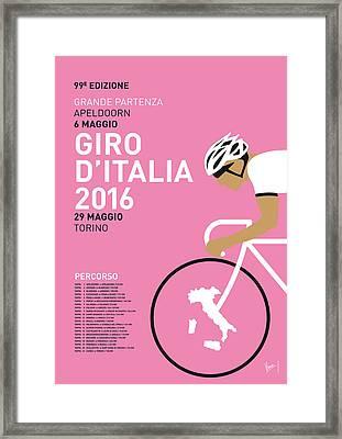 My Giro Ditalia Minimal Poster 2016 Framed Print