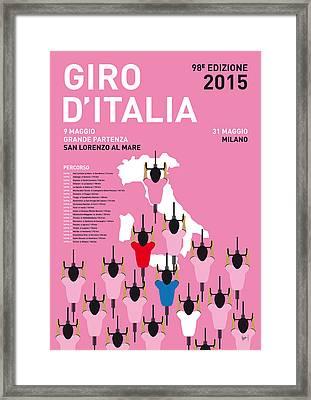 My Giro D'italia Minimal Poster Percorso 2015 Framed Print