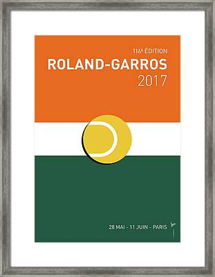 Framed Print featuring the digital art My Grand Slam 02 Rolandgarros 2017 Minimal Poster by Chungkong Art