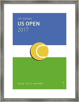 Framed Print featuring the digital art My Grand Slam 04 Us Open 2017 Minimal Poster by Chungkong Art