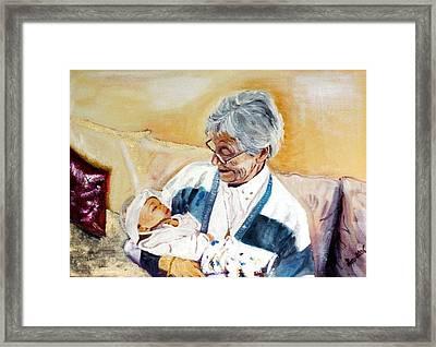 my granddaughter Leonie with her great grandmum Framed Print by Helmut Rottler