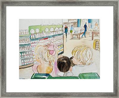 My Grandkids At The Grocery Store Framed Print
