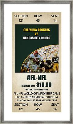 My Green Bay Packers Superbowl Ticket Framed Print