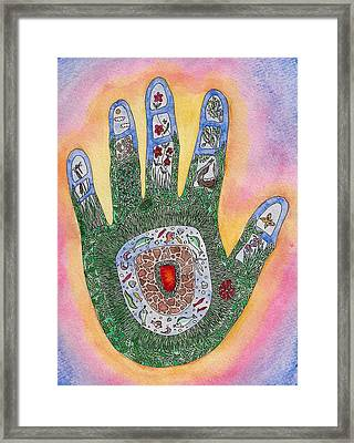 My Handprint On The World Framed Print by Melanie Rochat