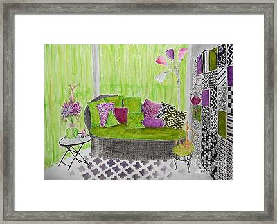 My Happy Place -- Drawing Of Colorful Moroccan Porch Framed Print