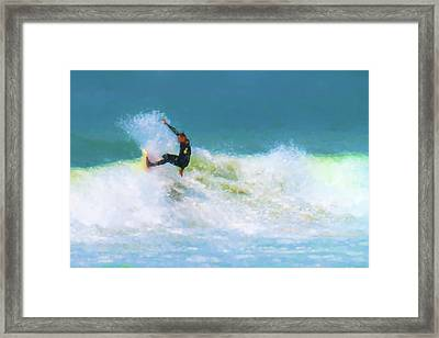 My Happy Place Surfing Watercolor Framed Print