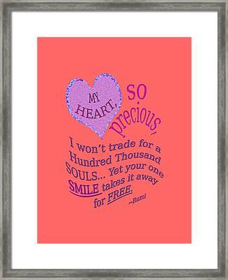 My Heart Framed Print by Diane De Simone