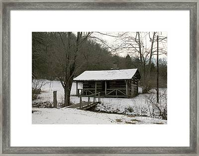 My Lil Cabin Home On The Hill In Winter Framed Print