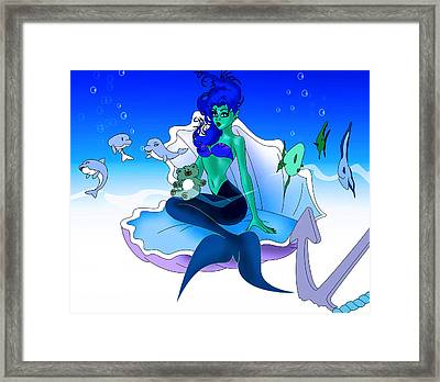 Framed Print featuring the painting My Little Mermaid by Lynn Rider