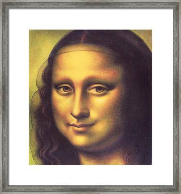 Framed Print featuring the drawing My Mona Lisa by Donna Basile