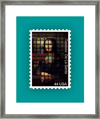 My Mona Lisa Stamp Series Framed Print by Teodoro De La Santa