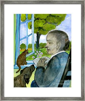 My Mother Reading Her Prayer Book Framed Print by Anna Folkartanna Maciejewska-Dyba