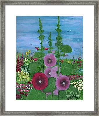 My Mother's Garden Hollyhocks Framed Print by Anna Folkartanna Maciejewska-Dyba