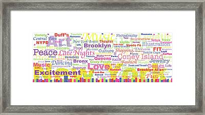 My New York In Words Framed Print by Kristi L Randall