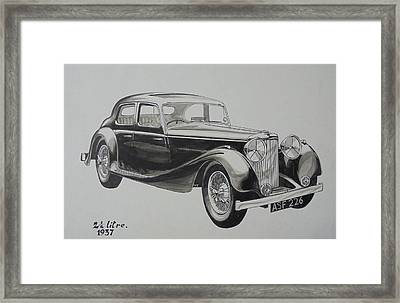 Framed Print featuring the drawing My Old Jag. by Mike Jeffries