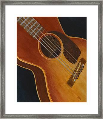 Framed Print featuring the painting My Old Sunburst Guitar by Karen Fleschler