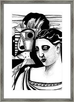 My Outing With A Young Woman By Picasso Framed Print by Helena Tiainen