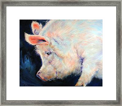 My Pink Pig  For A Lucky Day By M Baldwin Framed Print by Marcia Baldwin