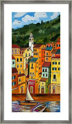 Framed Print featuring the painting My Portofino by Roberto Gagliardi