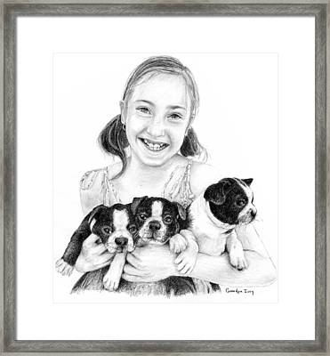 Framed Print featuring the drawing My Puppies by Mike Ivey