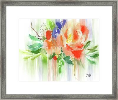 Framed Print featuring the painting My Roses Gently Weep by Colleen Taylor