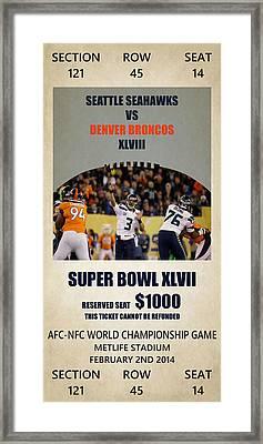 My Seattle Seahawks Super Bowl 48 Ticket Framed Print