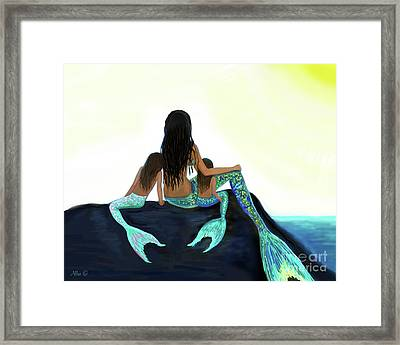 Framed Print featuring the painting My Sunshine Girls by Leslie Allen
