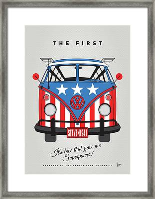 My Superhero-vw-t1-cap America Framed Print by Chungkong Art