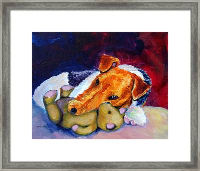 My Teddy - Wire Hair Fox Terrier Framed Print by Lyn Cook