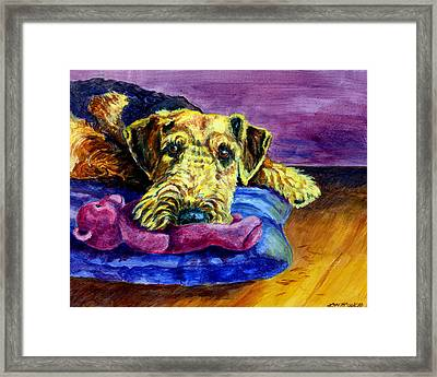 My Teddy Airedale Terrier Framed Print by Lyn Cook