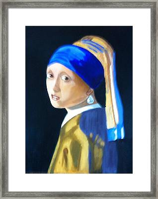 Framed Print featuring the painting My Version-girl With The Pearl Earring by Rod Jellison
