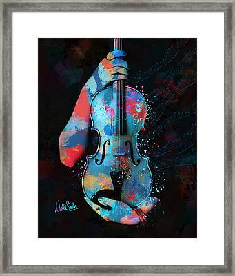 My Violin Whispers Music In The Night Framed Print by Nikki Marie Smith
