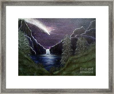 My Vision Of Haley's Comet Framed Print by Vivian Cook
