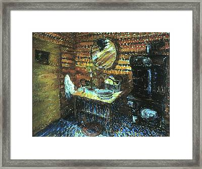 My Wyoming Cabin By Candlelight Framed Print by Willoughby Senior