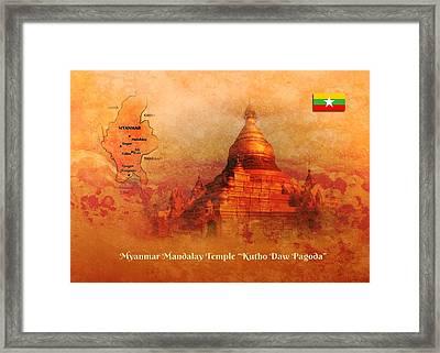 Framed Print featuring the digital art Myanmar Temple Kutho Daw Pagoda by John Wills