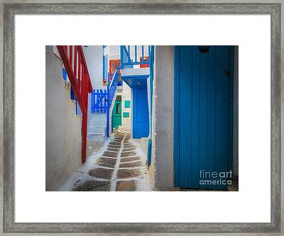 Mykonos Alley Framed Print by Inge Johnsson