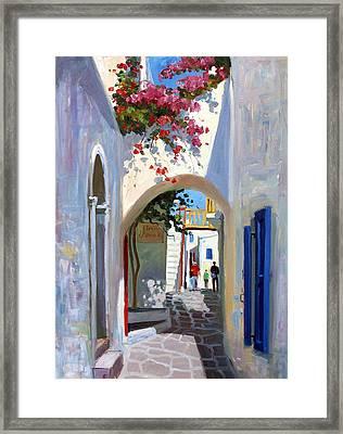 Mykonos Archway Framed Print