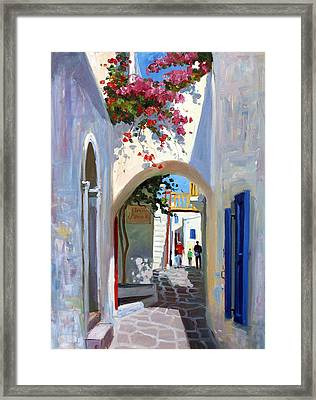 Mykonos Archway Framed Print by Roelof Rossouw