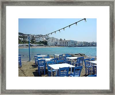 Mykonos Blue And White Framed Print by Julie Palencia