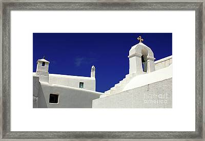 Framed Print featuring the photograph Mykonos Greece Architectual Line 5 by Bob Christopher