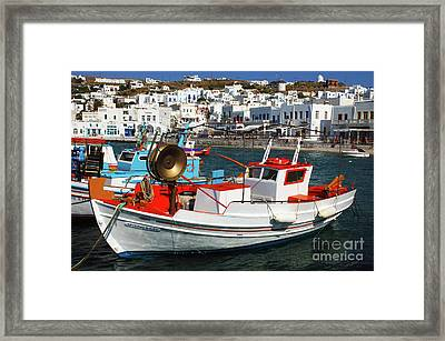 Mykonos Greece Fishing Boats Framed Print by Bob Christopher